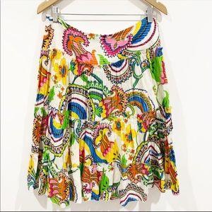 Trina Turk paisley print cotton summer skirt Sz 6